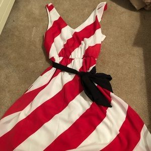 Size small red and white stripped dress with belt